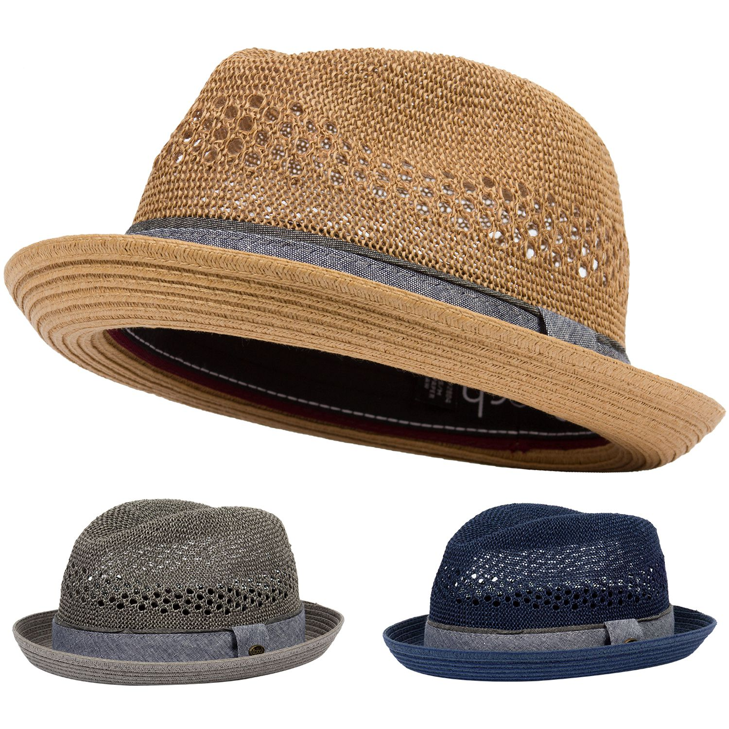 b959bc67847ad Pork Pie Fedora Hat Paper Straw Short Up Brim